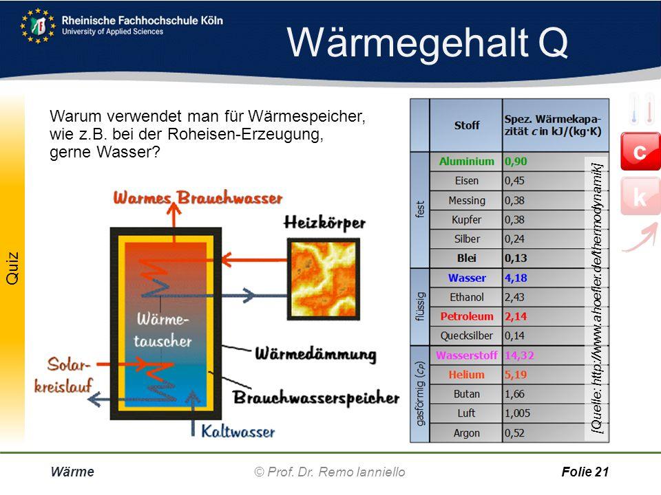 Wärmegehalt Q [Quelle: http://www.ahoefler.de/thermodynamik]